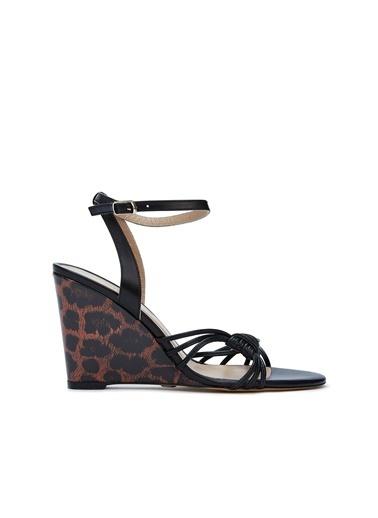 Divarese Divarese 5025216 Desenli Topuklu Kadın Sandalet Siyah